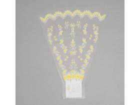 Пакет для цветов конус с жёлтым рисунком