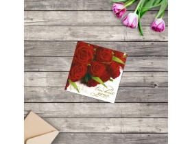 """Мини-открытка """"От всей души"""" красные розы"""