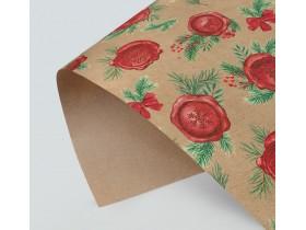 Бумага упаковочная крафтовая «Новогодняя посылка», 50 × 70 см